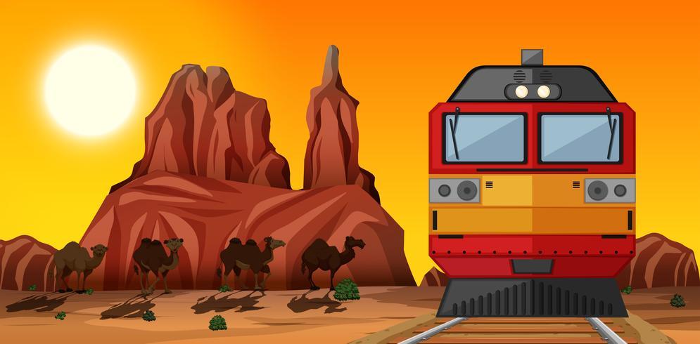 Passeio de trem na terra deserta ao pôr do sol