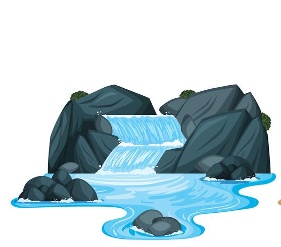 A small waterfall with rocks - Download Free Vector Art, Stock Graphics & Images