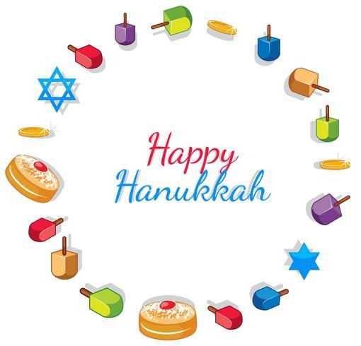 Modelo de cartão de feliz Hanukkah com brinquedos e donuts