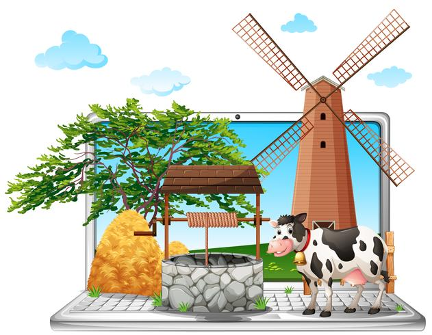 Cow and well on computer screen
