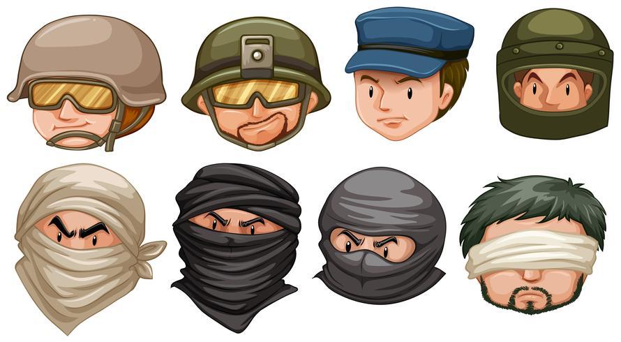 Gezichten van terroristen en soldaten