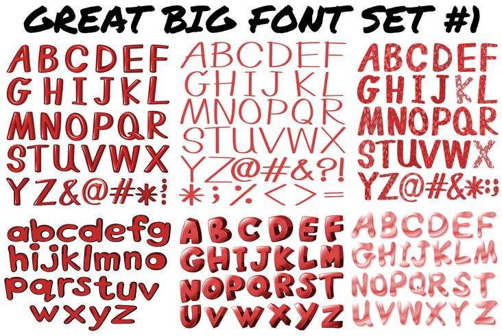 English fonts in red bold