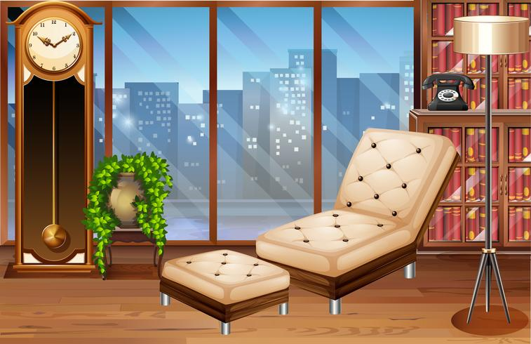 Room with seats and books vector