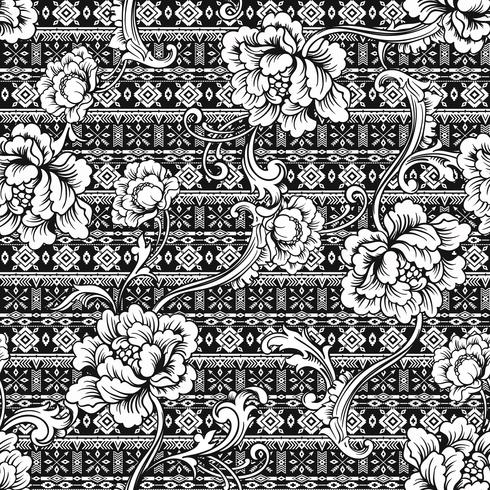 Eclectic fabric seamless pattern. Ethnic background with baroque ornament.
