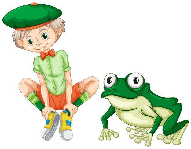 Garçon mignon et grenouille verte
