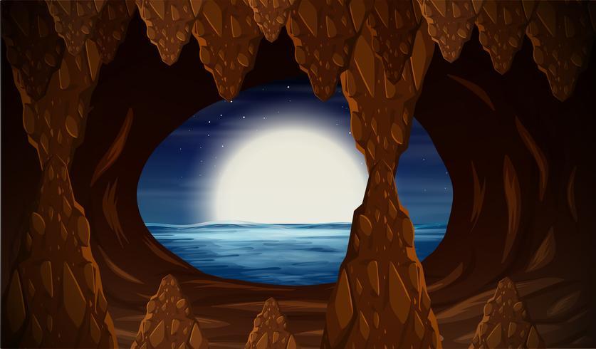 Caverne avec entrée sur l'océan