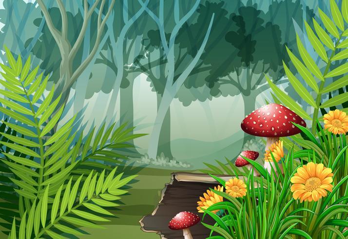 Escena del bosque con arboles y flores.