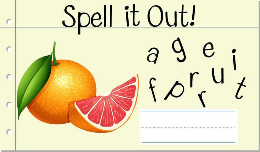 Soletrar Inglês palavra grapefruit