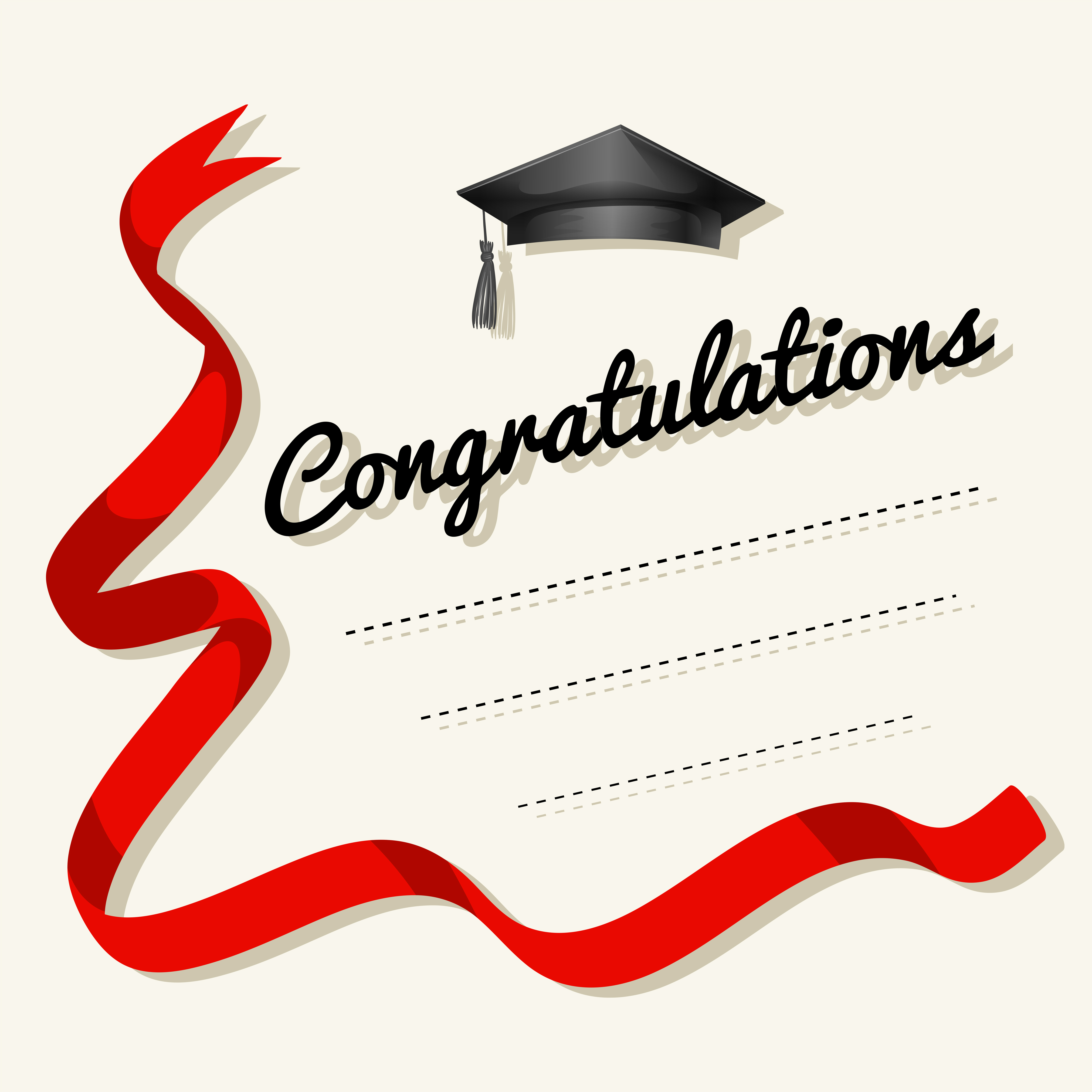 card template with congratulations word