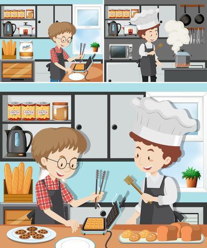 Een man in kookcursus