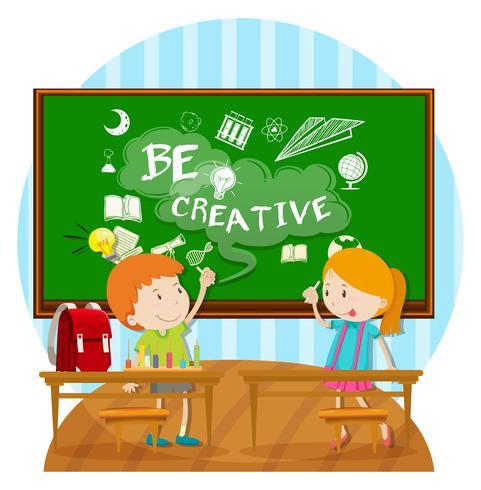 Dois, crianças, escrita, tábua, sala aula