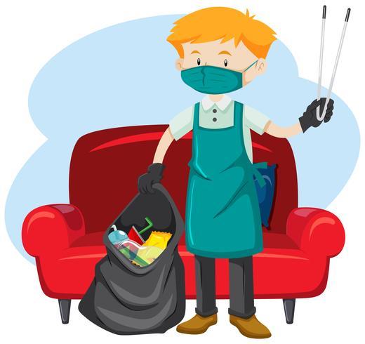 Un homme ramassant des ordures