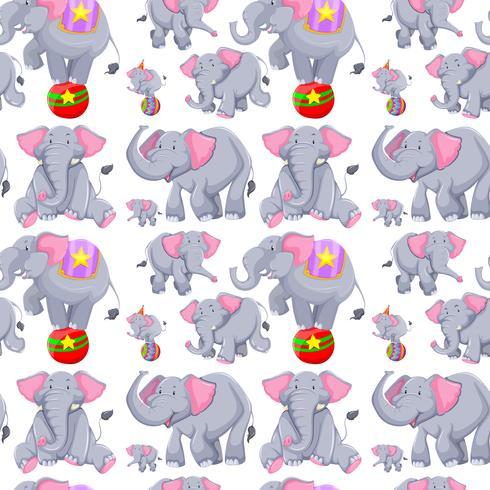 Plano de fundo sem emenda com elefantes cinzentos
