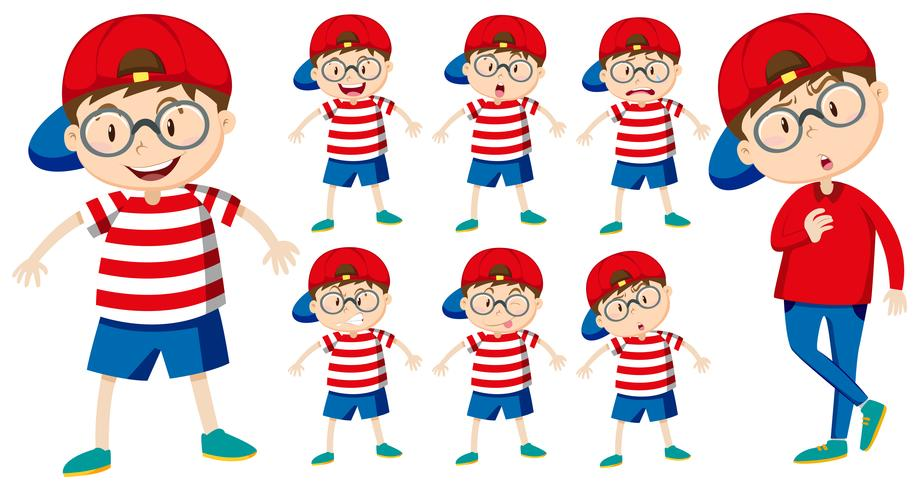 Boy with different emotions vector