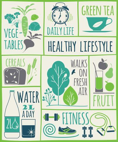 Healthy lifestyle Icons set