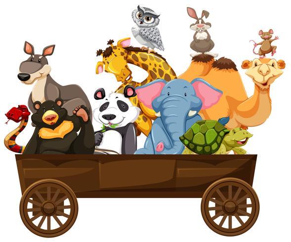 Många sorters djur i trävagn vektor