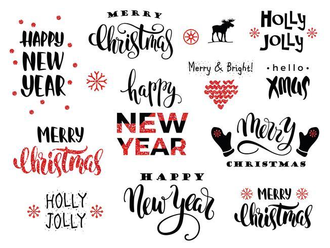Frohe Weihnachten und ein glückliches Neues Jahr. Vektor-Schriftzug-Kalligraphie