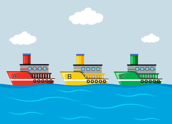 Colourful Ships in the Ocean