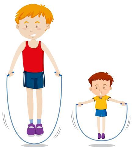 Père et fils, corde, saut
