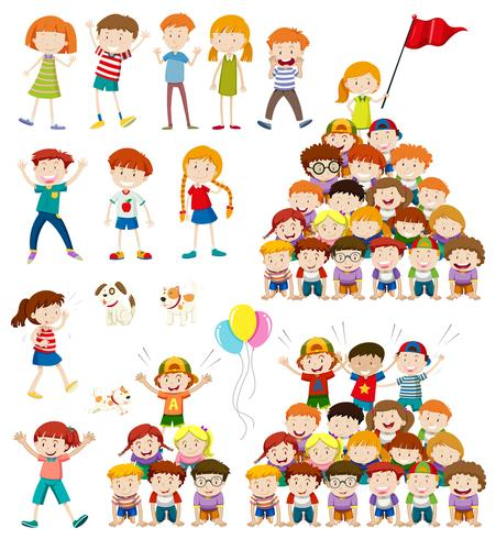 Kinder und menschliche Pyramide