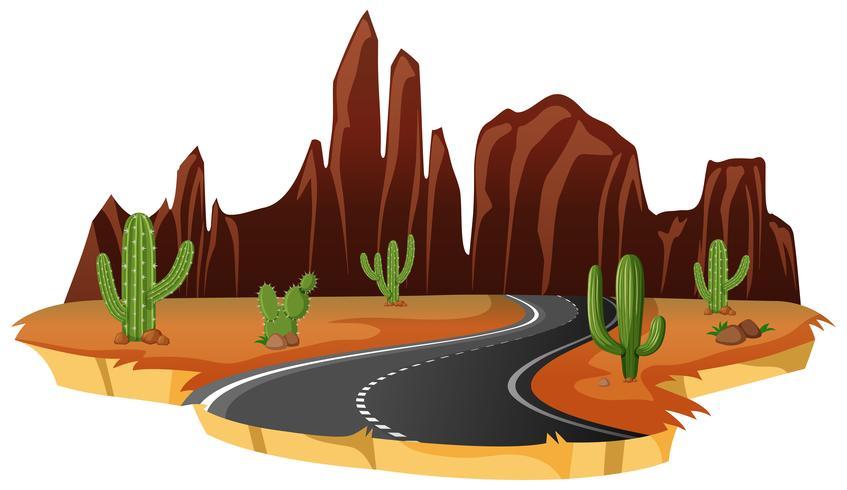 Een geïsoleerde woestijnweg