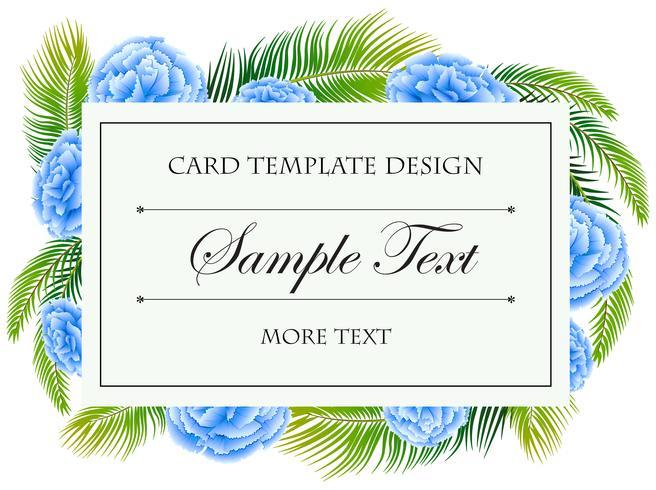 Modelo de cartão com moldura de flores azuis