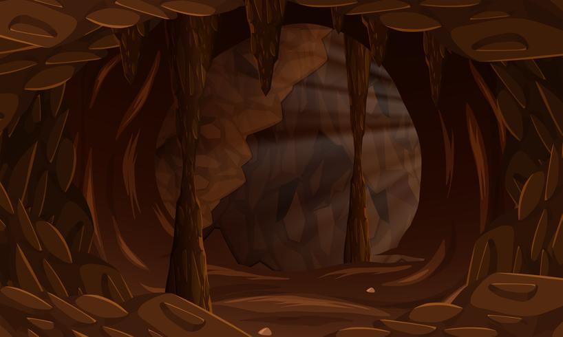 Un oscuro paisaje de cuevas.