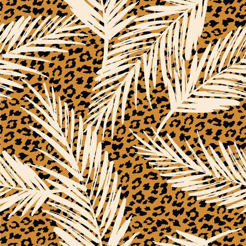 Modelo exótico inconsútil con las hojas de la palma y el modelo animal. vector
