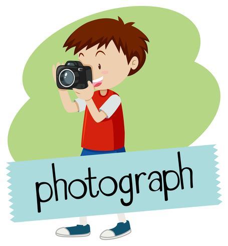 Wordcard per fotografia con ragazzo che cattura maschera con la macchina fotografica
