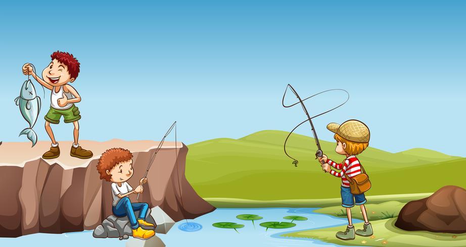 Tres niños pescando en el río.