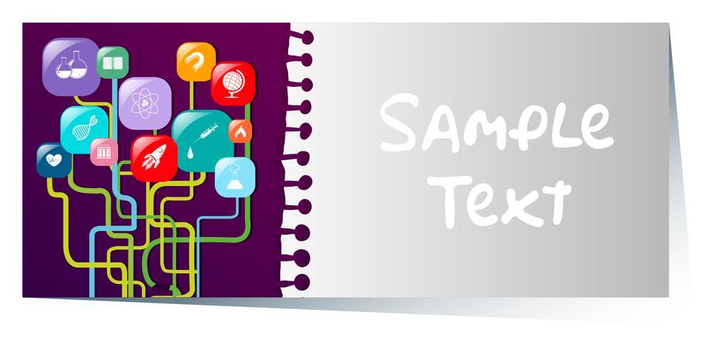 Businesscard-Schablone mit verschiedenen Ikonen auf purpurrotem Hintergrund