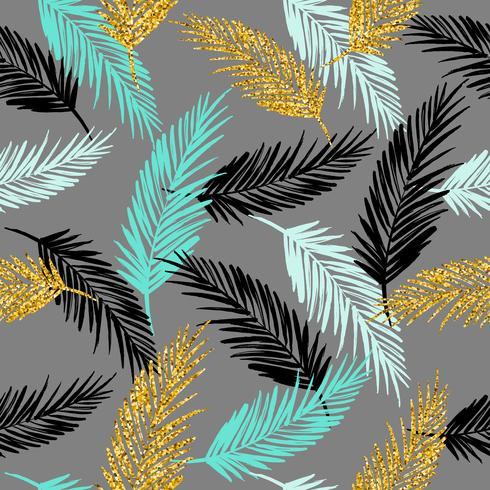 Seamless exotic pattern with palm leaf silhouettes. vector