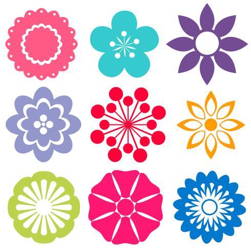 Set van kleurrijke bloemen