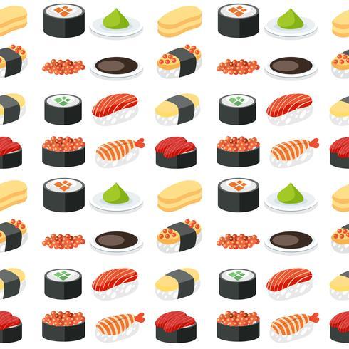 Sömlös mönster sushi set