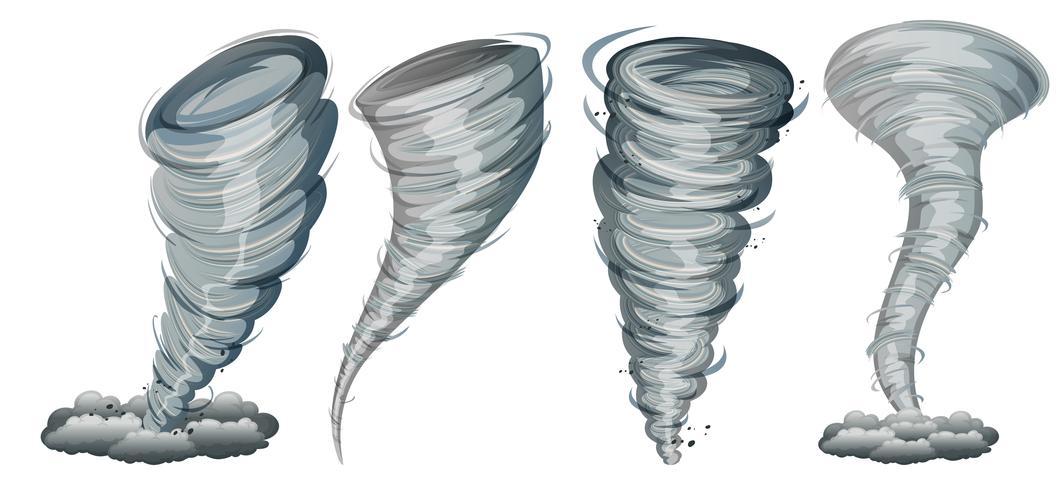 Set di tornado su sfondo bianco