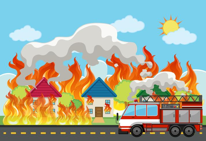 Emergency house fire background vector