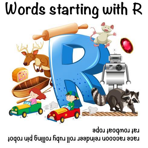 Werkbladontwerp voor woorden die beginnen met R