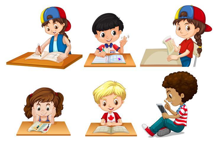 conjunto de niños estudiando vector