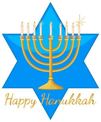 Modello di carta di Hanukkah felice con stella blu e luci vettore