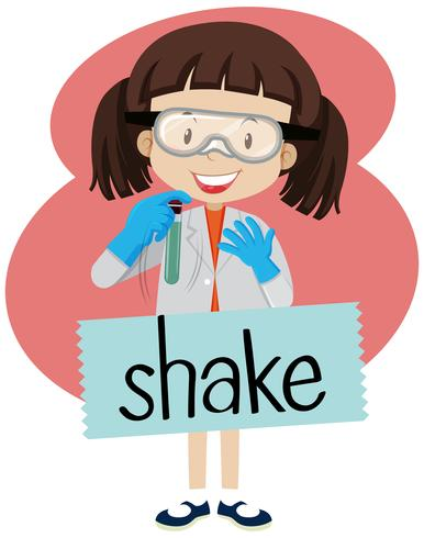 Flashcard for word shake with girl in lab costume