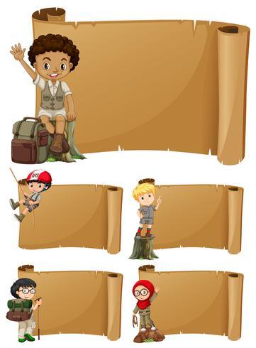 Fahnendesign mit Mädchen und Jungen