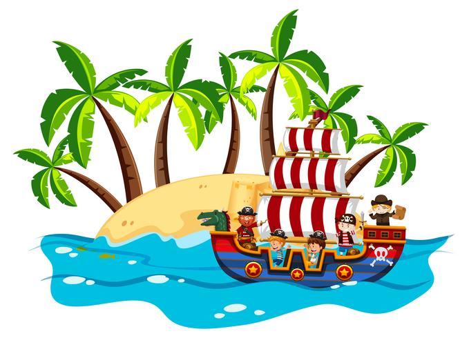 Niños y piratas en barco vikingo.