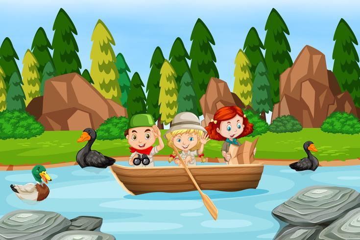 Niños en una escena de barco.