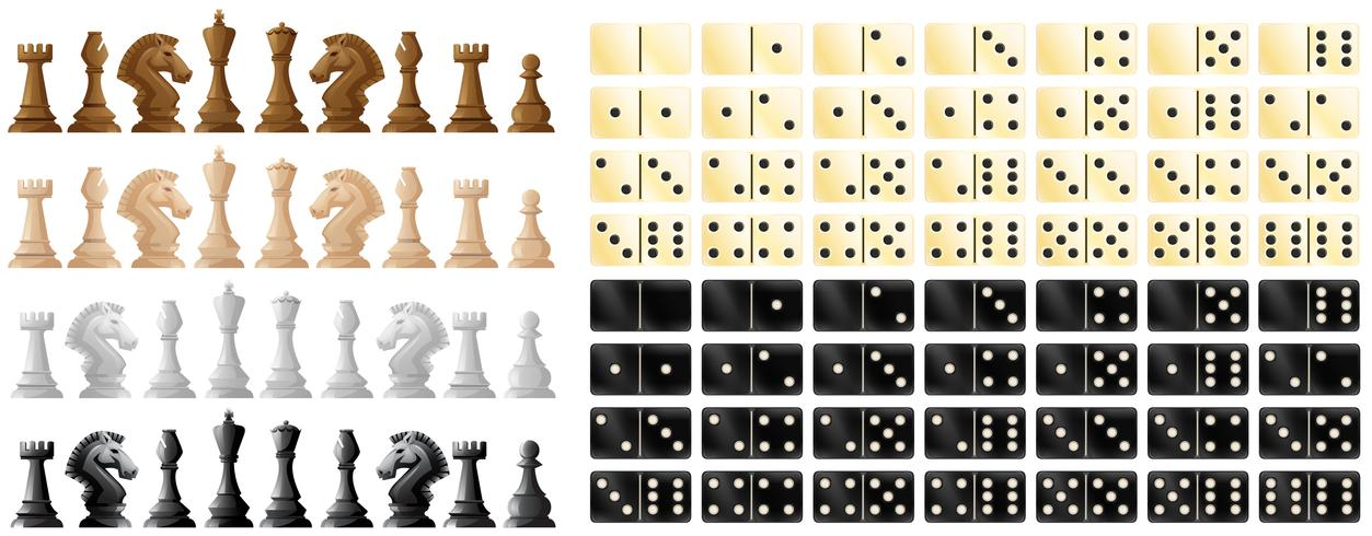 Chess pieces and domino in black and white