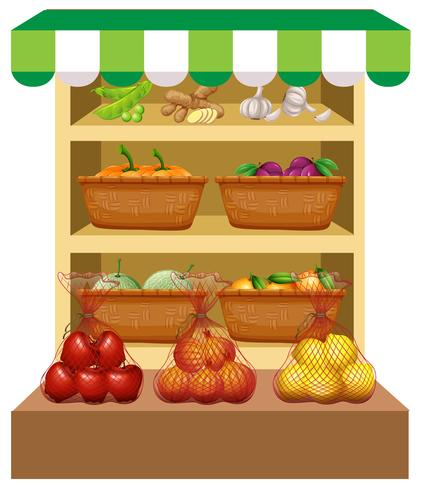 Fresh vegetables and fruits on shelves