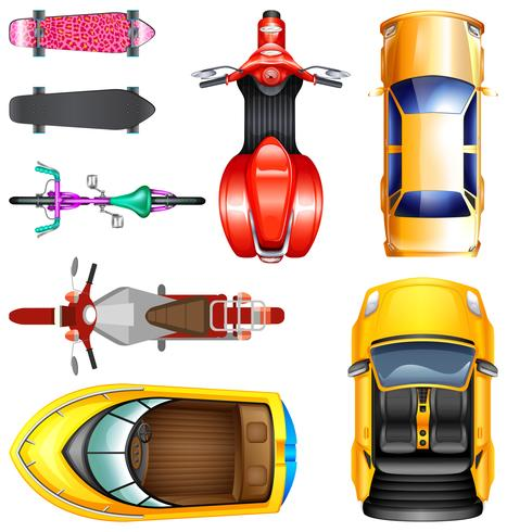 Top view of different transportation - Download Free Vector Art, Stock Graphics & Images