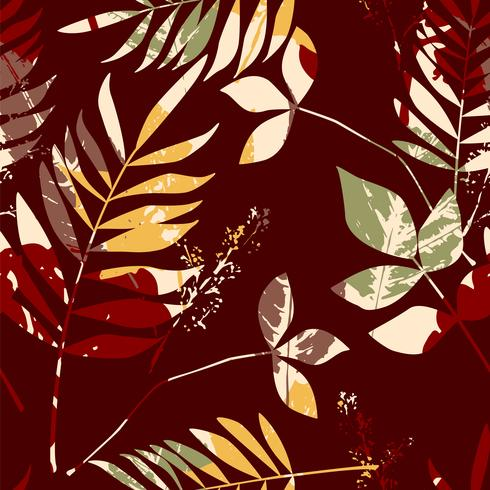 Abstract naadloos patroon met bladeren. Vector