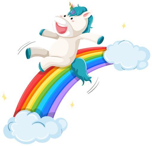 Een eenhoorn op regenboog