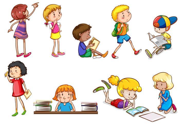 Set Of Children Doing School Activities Download Free Vector Art