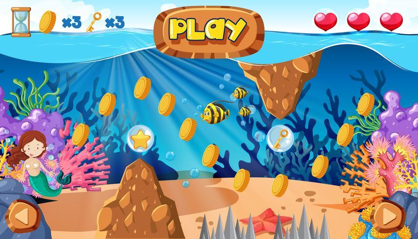 Ein Meerjungfrau-Spiel unter dem Ozean